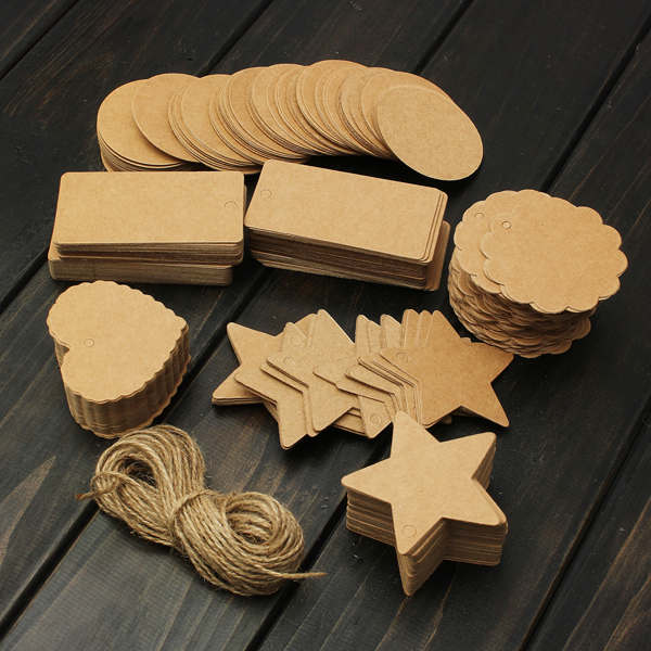 100pcs Brown Blank Cards Kraft Paper Tags