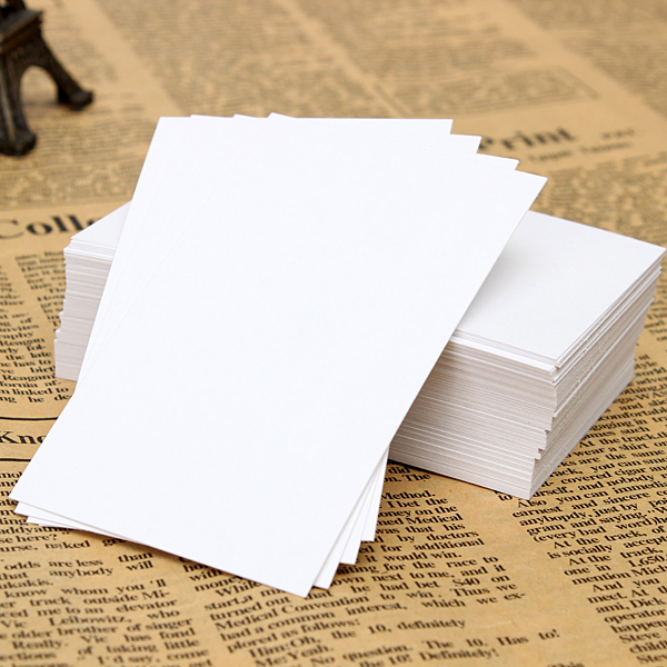 100pcs Blank White Paper Card Business Word Card Note Card 90x55