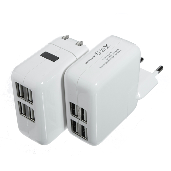 4 USB Ports Wall AC Power Travel Charger Adapter US EU Plug