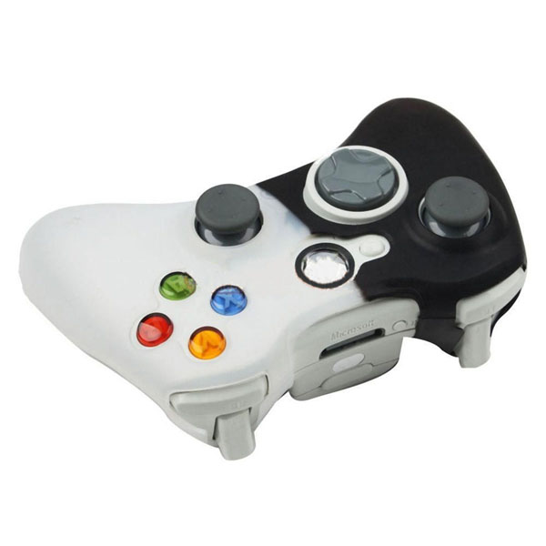 New Silicone Case Cover Skin for XBOX 360 Controller Black-White