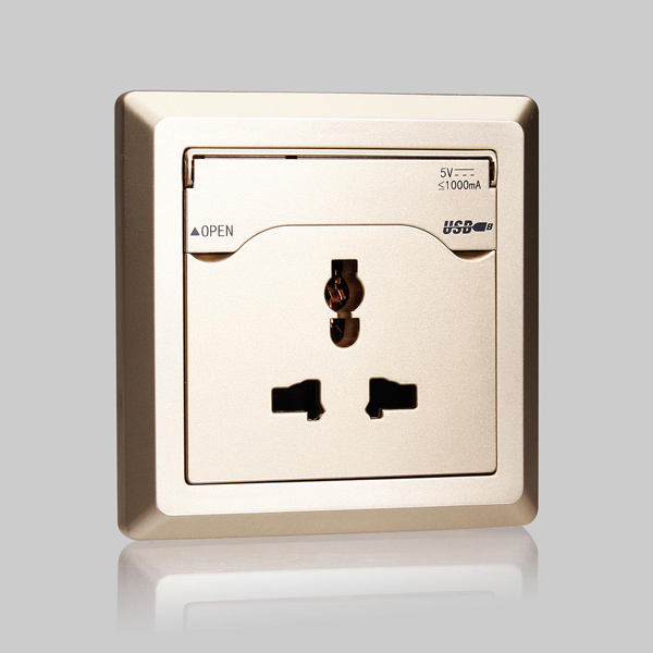 USB Charging Wall Socket With USB Port Interface White/Champagne