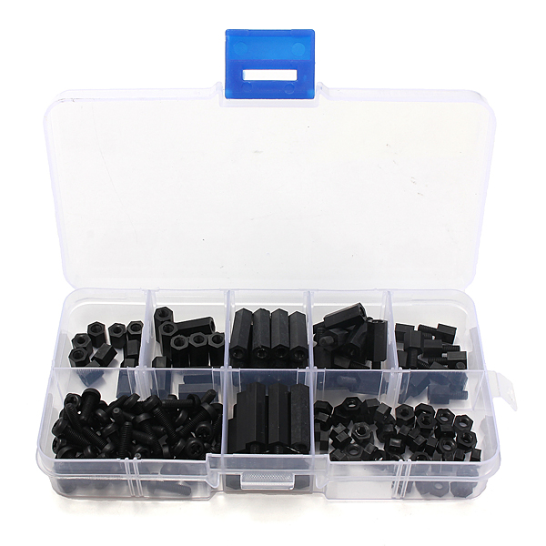 160pcs M3 Nylon Black M-F Hex Spacers Screw Nut Assortment Kit