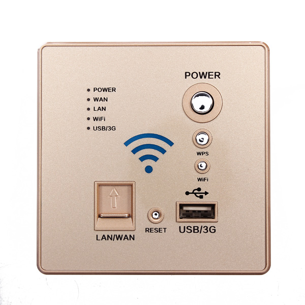 110~240V Wall Mounted Wireless WiFi Router USB Socket Golden/ Bl