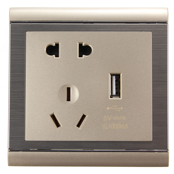 250V AC Wall Power Socket with Single USB Port Charging Outlet