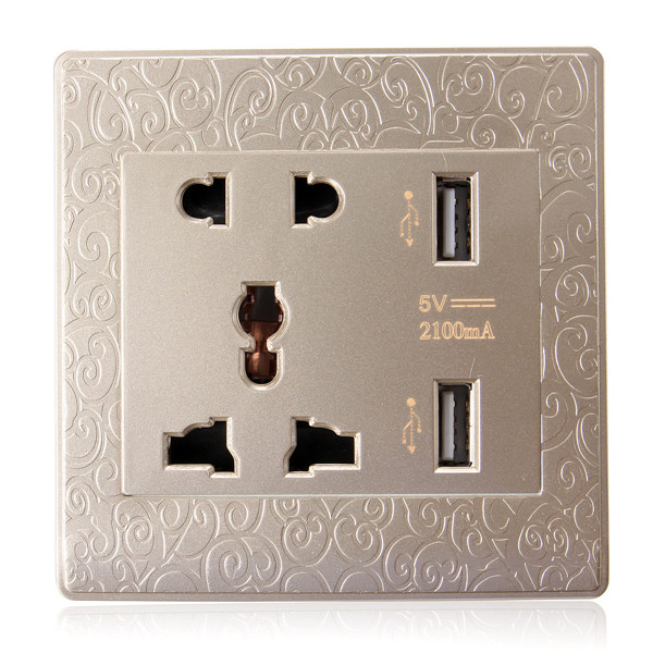 2.1A Wall Charger Socket Adapter Power Outlet with 2 USB Ports