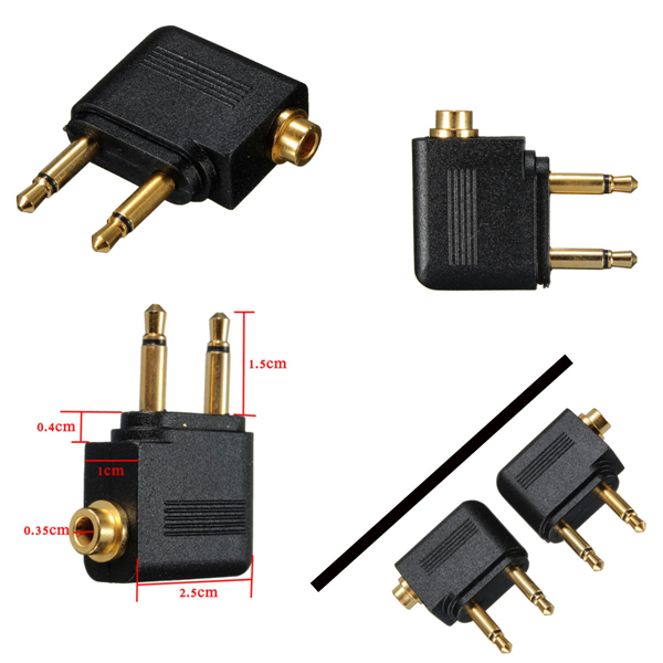 3.5mm Airline Airplane Adapter To Dual Prong Stereo Jack For Jac