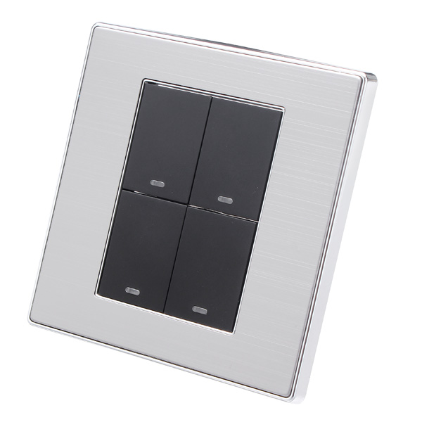 LED Wall Switch Panel Light Switch Four Switch Double Control 25