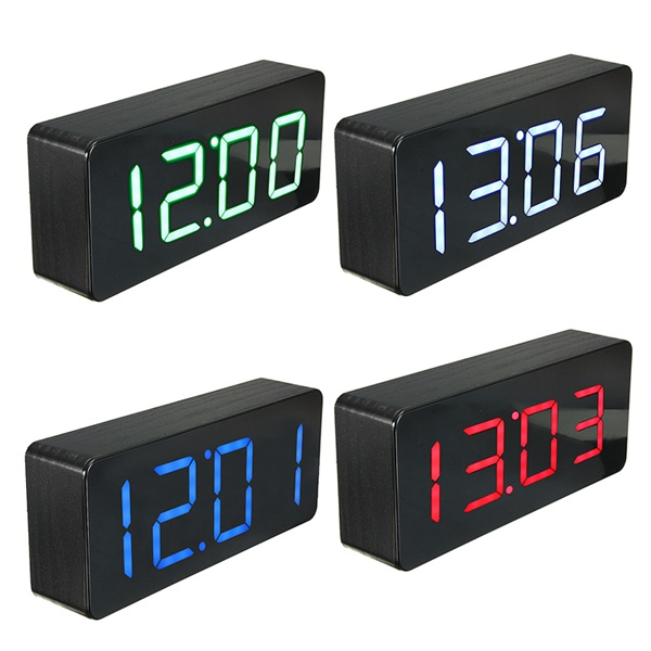 Acrylic Mirror Wooden Digital LED Alarm Clock Time Calendar Ther