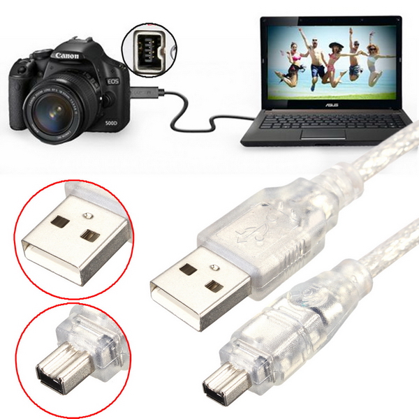 1.2M 4FT High Speed USB 2.0 Male to 4 Pin IEEE 1394 Cable Lead E