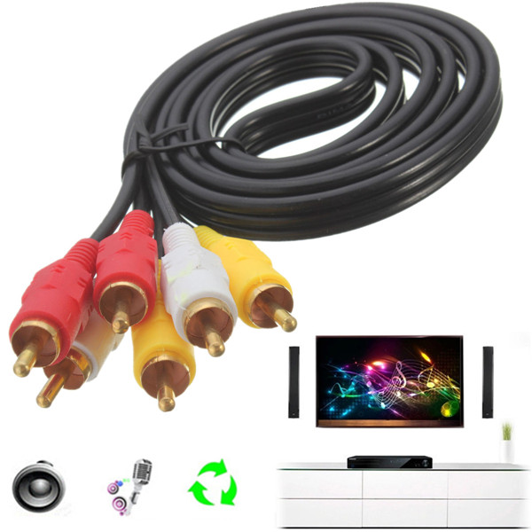 1.15m 3 RCA To 3 RCA Male To Male Composite TV AV Audio Video Ex