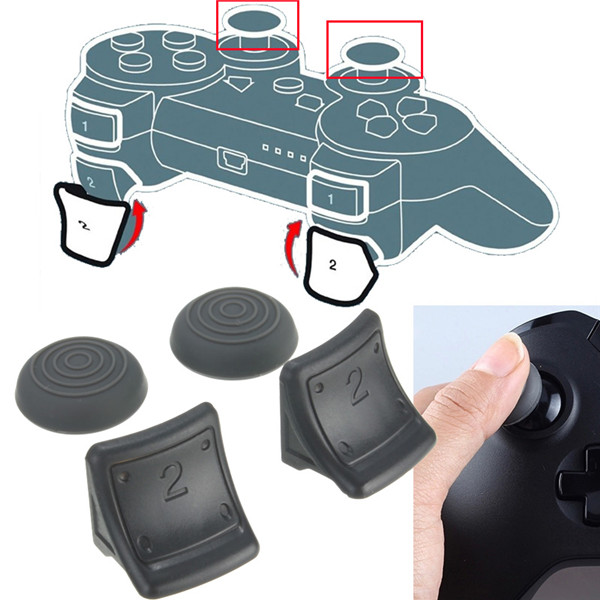 Dual Triggers + Silicone Thumb Grip Cap Cover 4in1 Set For PS3 C