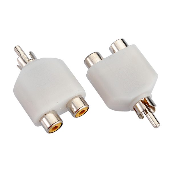 2X RCA AV Audio Splitter Adapter 1 Male 2 Female White