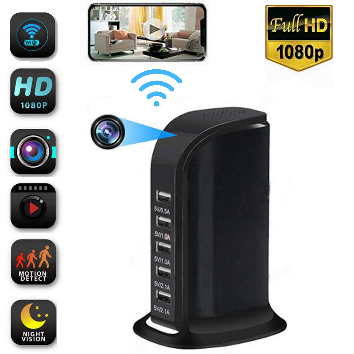 1080P Wireless Monitor Camera Multi-usb Wifi Phone Remote viewin