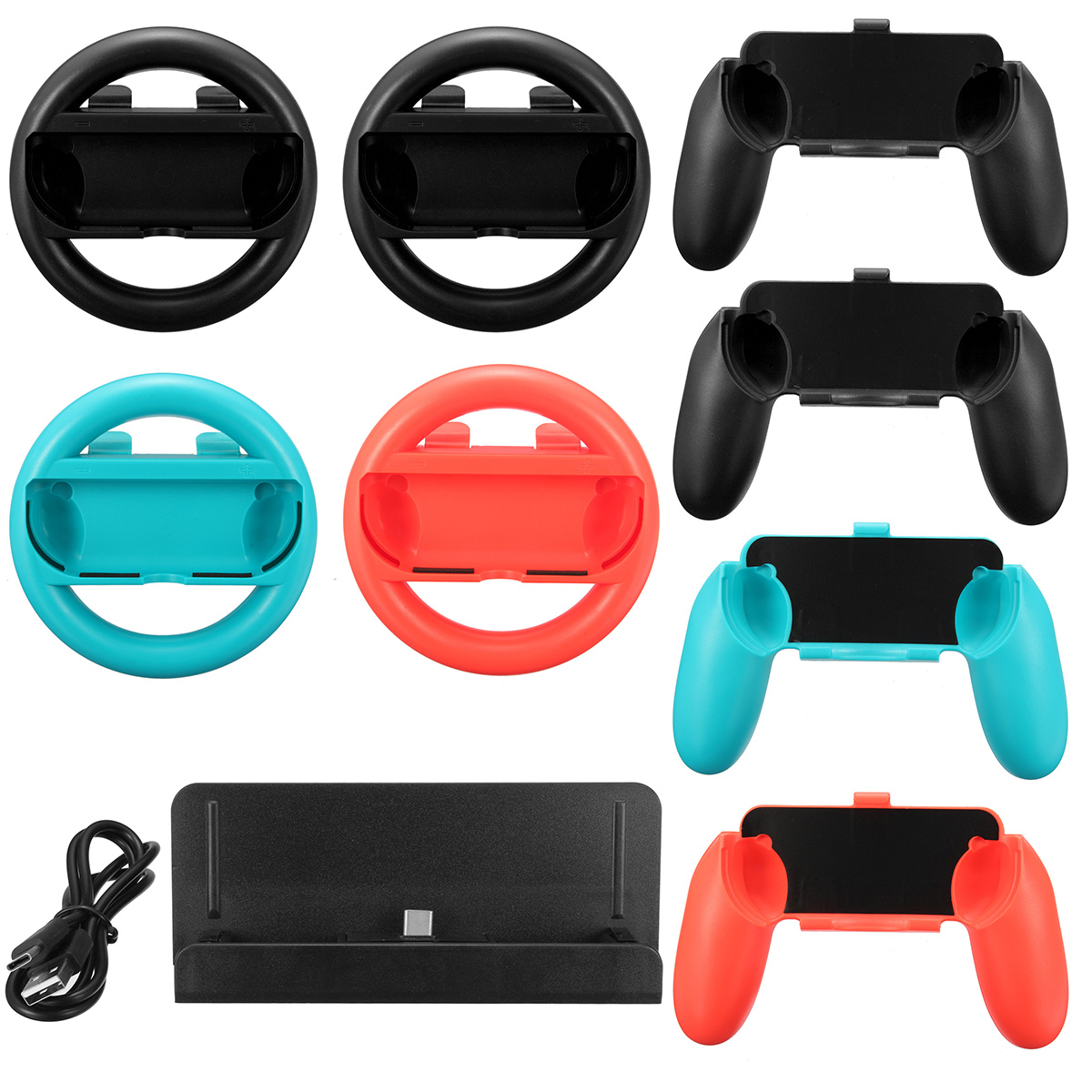 10 in 1 Charging Stand Controller Grip Holder Steering Wheel For