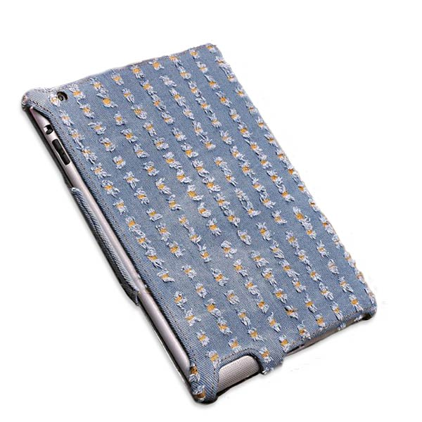 Denim Fabric Microfiber Embossing Heat Styling Skin Case For iPa