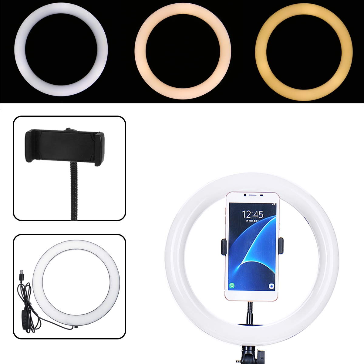 26cm Portable Stepless Adjustable LED Ring Full Light Makeup Mir