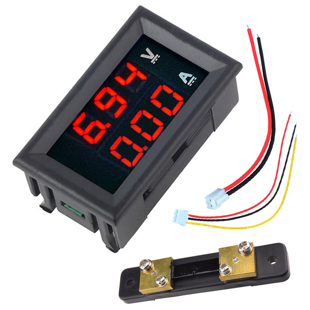 0.56 DC 100V 50A Red+Red Dual LED Display Mini Digital Voltmeter