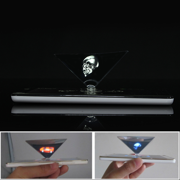 3D Holographic Projector Auxiliary Tool Pyramid DIY Creative Gif