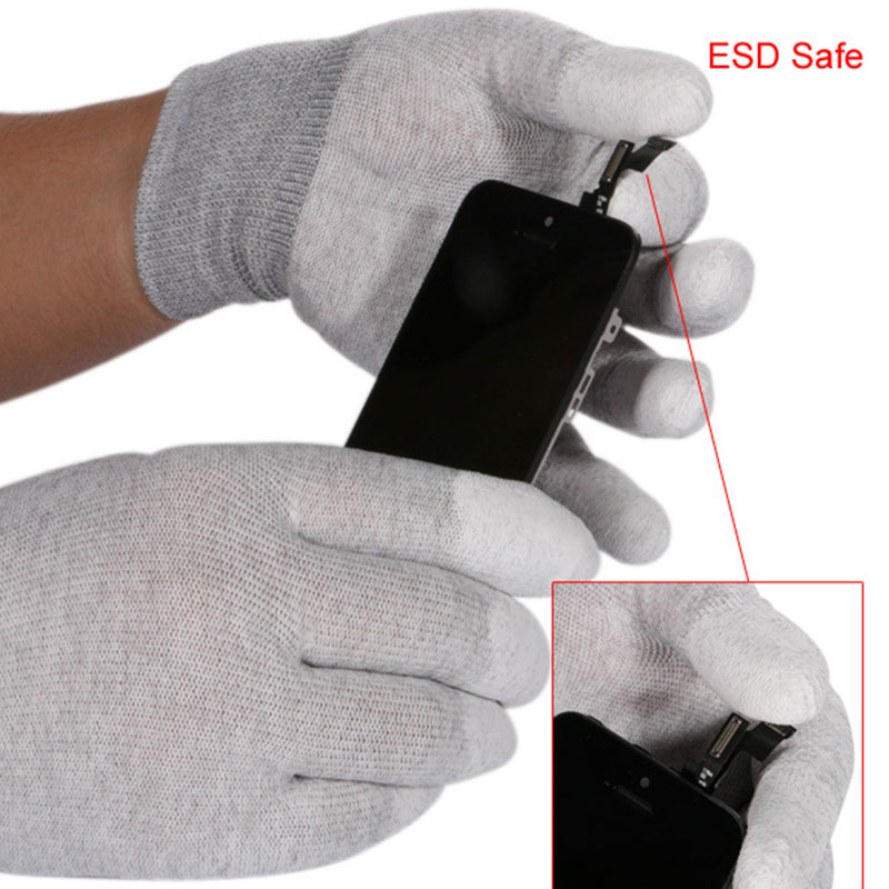 1 Pair ESD Safe Gloves Anti-static Anti Skid PU Finger Top Coate
