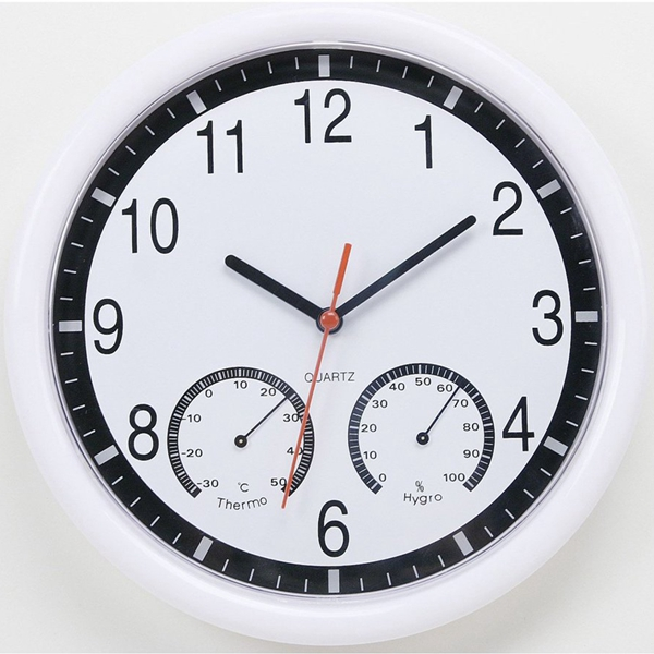 10'' 10 Inch Silent Modern Wall Clock With Thermometer & Hygrome
