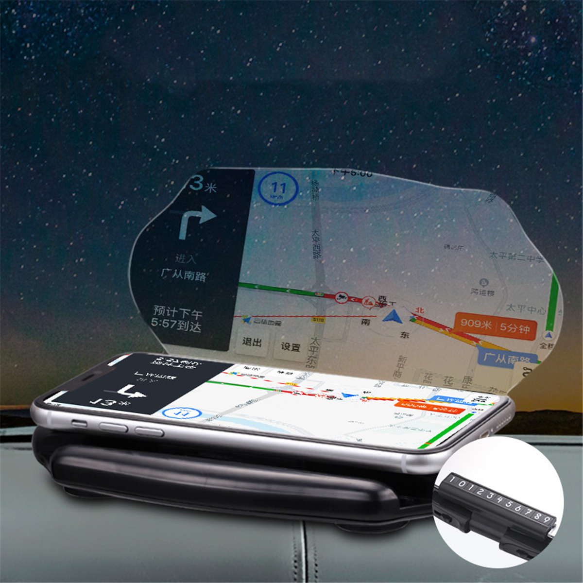 2 in 1 Fast Wireless Charger Car HUD Head Up Display Navigation